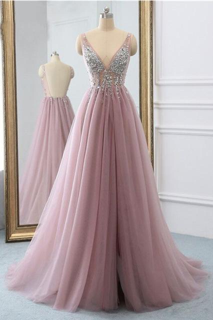 Sexy Slit Beading Tulle Backless V Neck Long Evening Dresses, Sleeveless Party Dresses on sale – ...