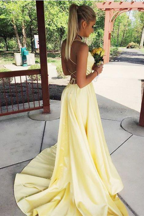 Sexy Spaghetti Straps Side Slit Red Satin Long Prom Dresses, Cheap Evening Dresses on sale – Pro ...
