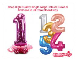 Shop High Quality Single Large Helium Number Balloons in UK from BloonAway