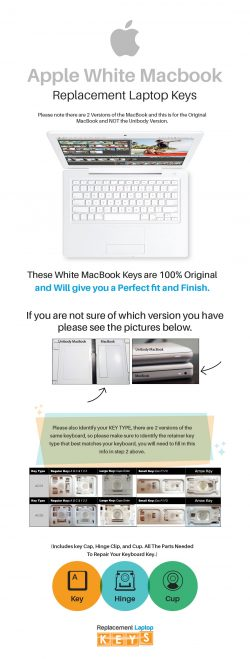 Shop Original Apple White MacBook Laptop Keys from Replacement Laptop Keys
