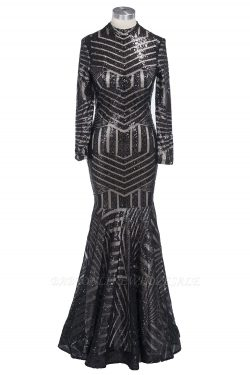TABITHA | Mermaid Floor Length High Neck Long-Sleeves Sequined Prom Dress | www.babyonlinewholes ...
