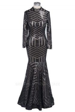 TABITHA | Mermaid Floor Length High Neck Long-Sleeves Sequined Prom Dress | www.babyonlinewholes ...