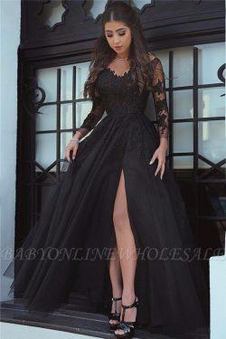 Elegante Abendkleider Lang Schwarz | Spitze Abendmoden Mit Ärmel