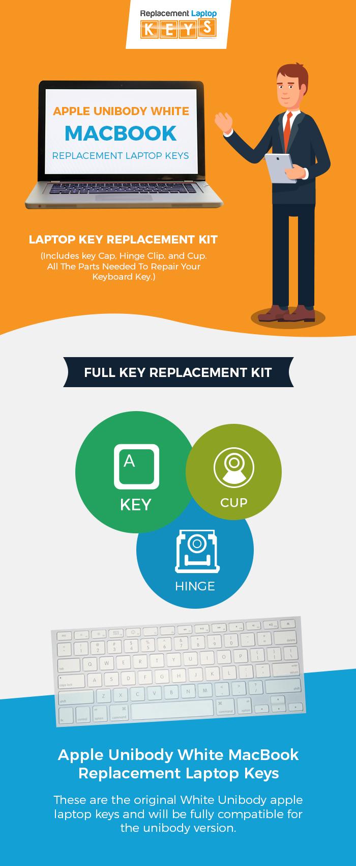 Buy Apple Unibody White MacBook Laptop Keyboard Keys from Replacement Laptop Keys