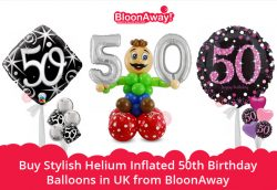 Buy Stylish Helium Inflated 50th Birthday Balloons in UK from BloonAway