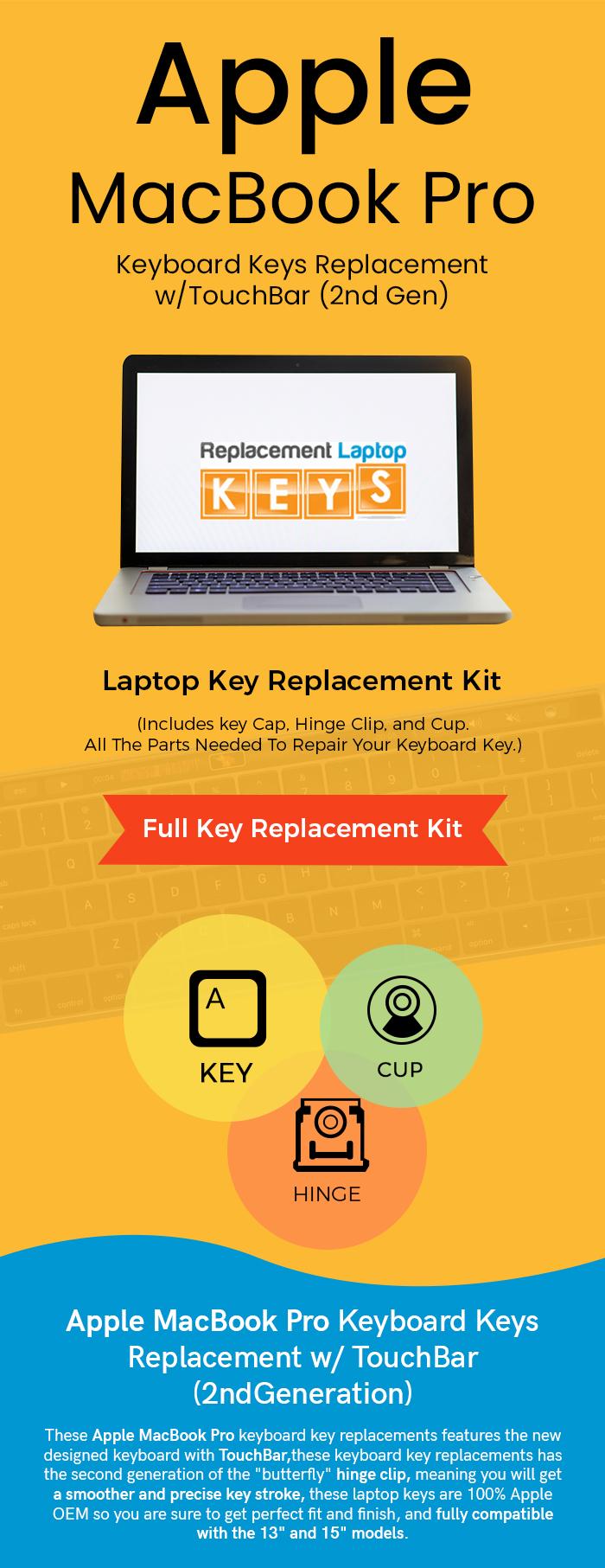 Shop 2nd Gen Apple MacBook Pro Keyboard Keys Replacement w/TouchBar