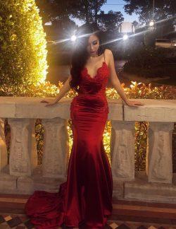 Elegante Abendkleider Weinrot | Schlichte Abendmoden Spitze