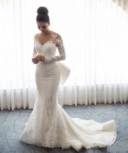 Designer Weiße Hochzeitskleider Spitze Mit Ärmel A Linie Brautkleider Günstig