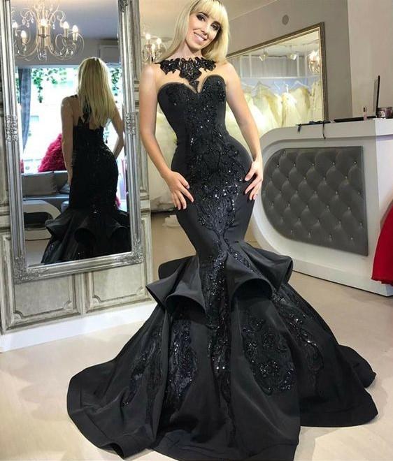 Elegante Abendkleider Lang Schwarz Meerjungfrau Abiballkleider Mit Spitze Günstig