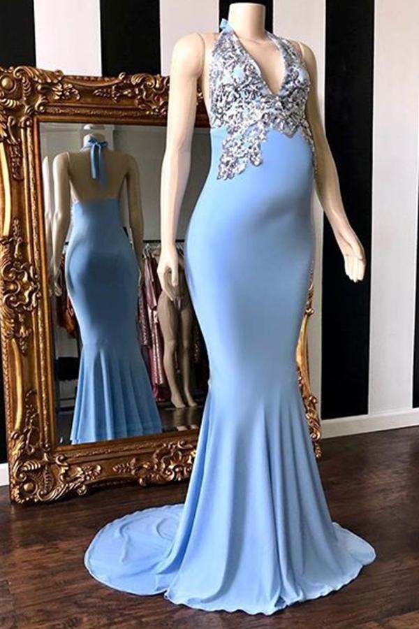 Elegante Abendkleider Lang V Ausschnitt | Abiballkleider Blau Online