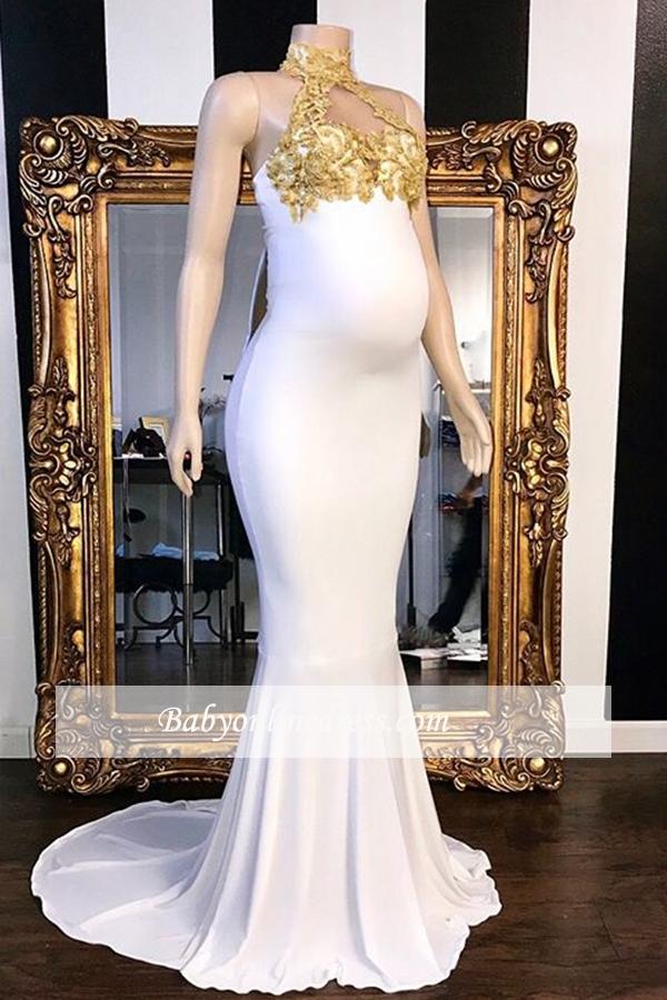 Elegante Abendkleider Lang Weiße mit Spitze | Abendmoden für Schwangere