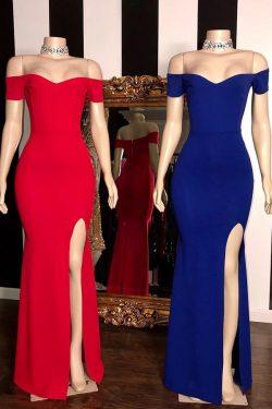 Schlichte Abendkleider Lang Rot | Abiballkleider Günstig Online