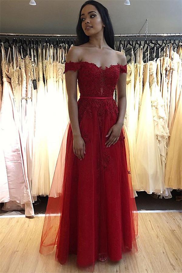 Fashion Abendkleider Lang Rot Spitze   Abendmoden Online Kaufen