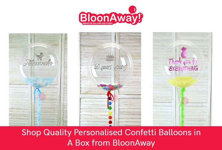Shop Quality Personalised Confetti Balloons in A Box from BloonAway