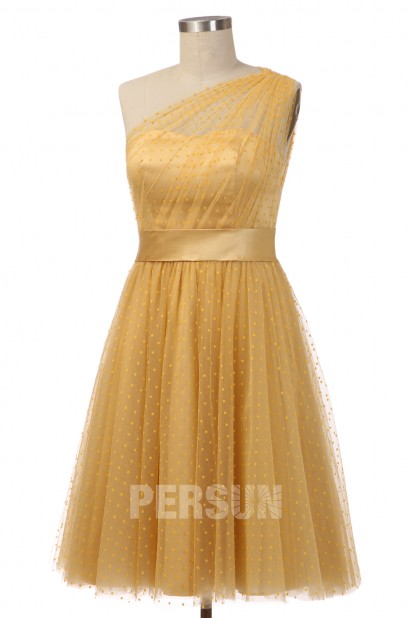 Tea Length One Shoulder Polka dot Tulle Gold Prom Dress JDK253051 – Persun.cc