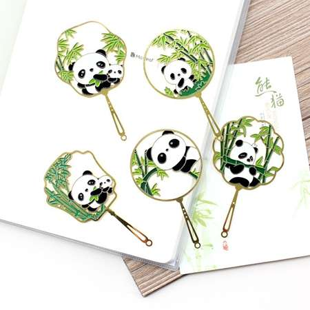 Panda パンダ しおり 可愛い 自然風 栞 フリンジ 竹の葉 タッセル メタル