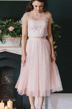 Blush Pink Two Piece Tea Length Tulle Bridesmaid Dresses with Pearls, Homecoming Dresses on sale ...