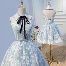 Halter Light Sky Blue Lace Appliques Homecoming Dresses with Lace up, Cocktail Dresses on sale – ...