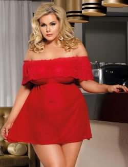 New Plus Size Red Lace Off Shoulder Babydoll Dress