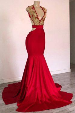 Rote Abendkleider Lang V Ausschnitt | Abiballkleider Rückenfrei Online