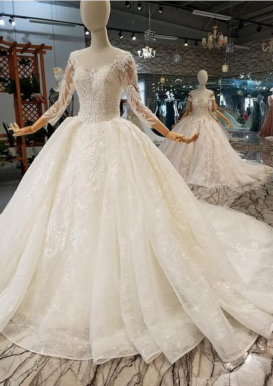 Luxus Brautkleider Mit Ärmel   A Linie Hochzeitskleider Mit Spitze