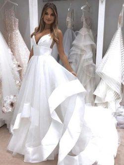 Sexy Brautkleid Mit Tüll Lang | Rückenfreie Brautmode Hochzeitskleider Online