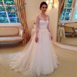 Modest Brautkleider Mit Spitzen Ärmel | Hochzeistkleider A Linie Online