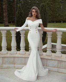 Elegante Abendkleider Lang Günstig | Abiballkleider Weiß Online Kuafen