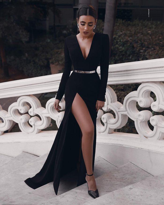Elegante Abendkleider Lang Schwarz   Abiballkleider Mit Ärmel Online