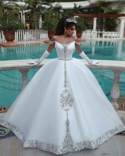 Weiße Brautkleid A Linie | Kristal Hochzeitskleider Günstig Online