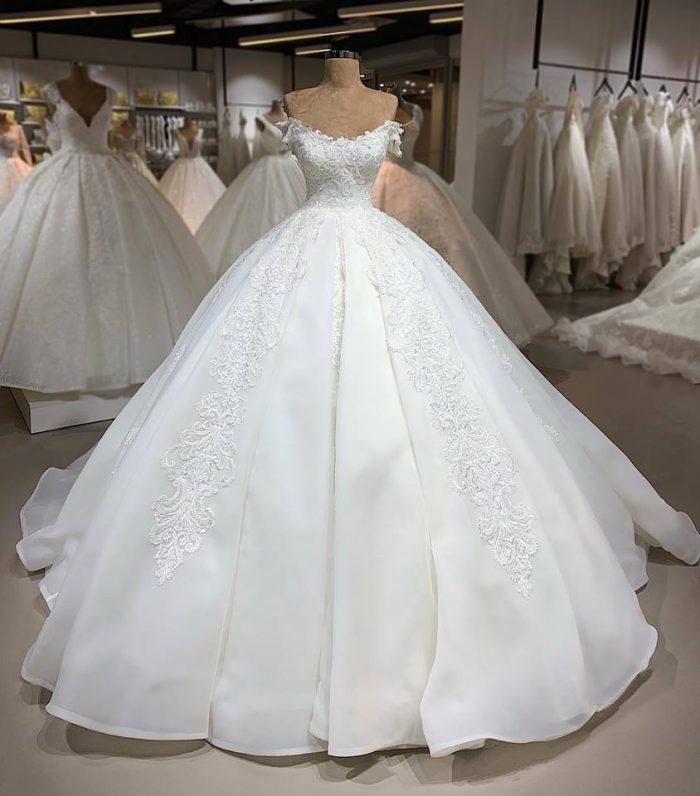 Designer Brautkleider Organza   A Linie Hochzeitskleider Mit Spitze
