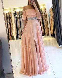 Coral Abendkleider Lang Chiffon | Etuikleider Abendmoden Online