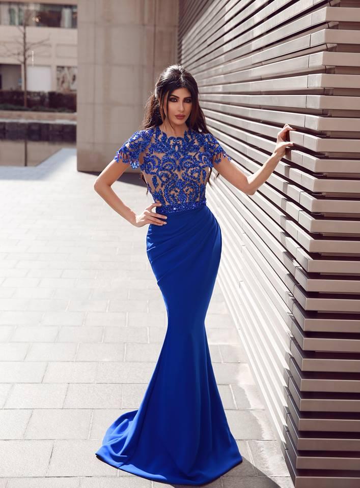 Elegante Abendkleider Mit Ärmel | Royal Blau Abiballkleider Mit Spitze