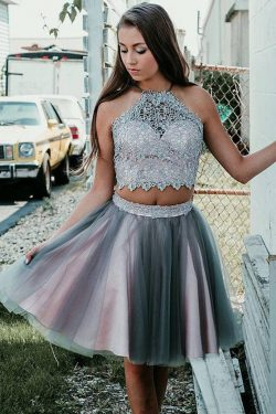 Simple Grey Two Pieces Knee Length Beads Halter Tulle Homecoming Dresses with Appliques on sale  ...