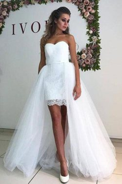White Tulle Sweetheart Strapless Mermaid Wedding Dresses with Lace Detachable Train on sale – Pr ...