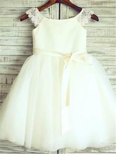 A-ligne Col plongeant Longueur Genou Tulle Robes de Fille De Fleur