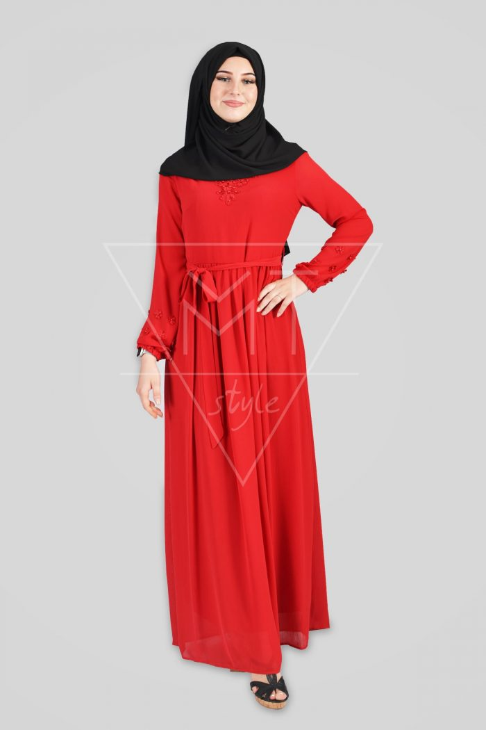 Kleid mit Details am Dekoltebereich und an den Ärmeln MT-0187