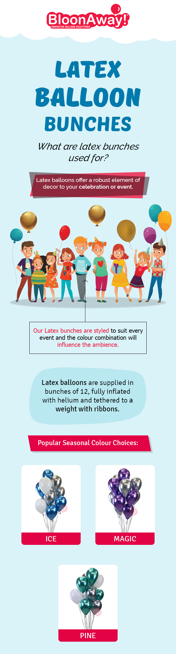 Get the Most Modern Latex Helium Balloon Bunches Online from BloonAway