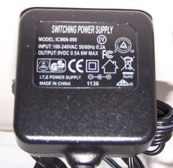 ICM06-090 AC ADAPTER 9VDC 0.5A 6W NEW -( ) 2×5.5x9mm ROUND BARR