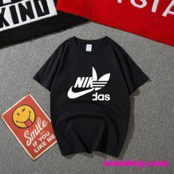 パロディ風 アディダス ナイキ コラボ Tシャツ Nike Adidas コラボ 半袖tシャツ ロゴプリント入り 個性 ...