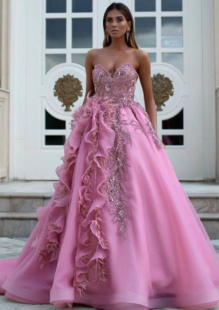 Luxus Abendkleider Lang Rosa | Abendmoden Online Kaufen