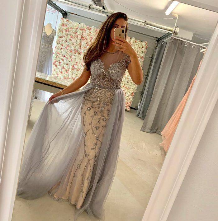Designer Abendkleider Silber | Abendmoden mit Spitze Online