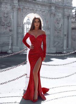 Rote Abendkleider Mit Ärmel | Abiballkleider Lang Glitzer