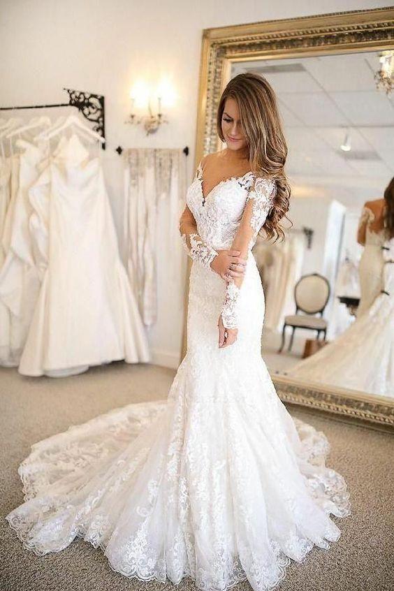 Modern Hochzeitskleider Mit Ärmel | Brautkleider Spitze Günstig