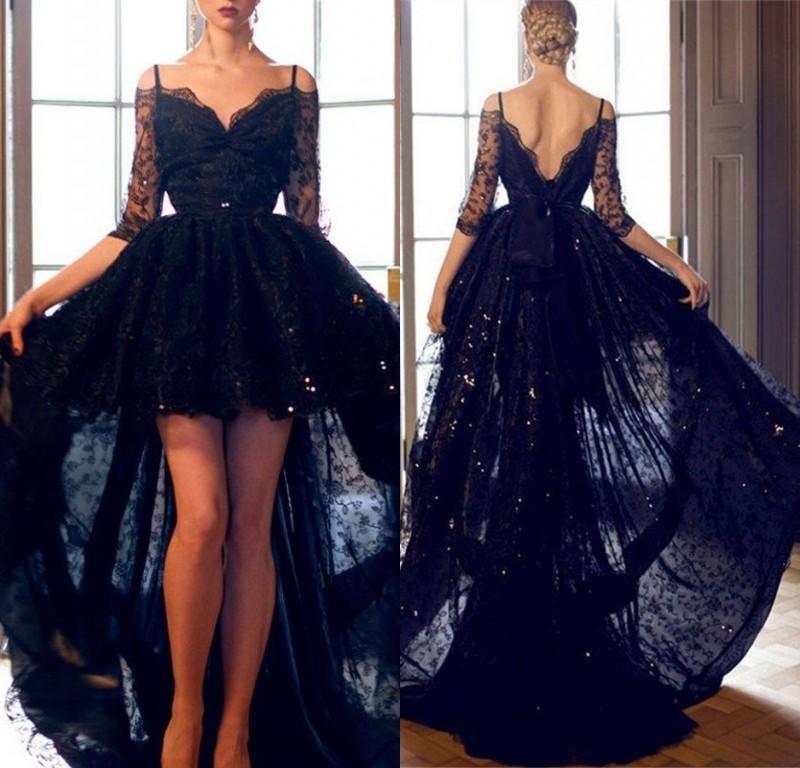 Schwarze Abendkleider Mit Ärmel Kurz Vorne Lang Hinter Abendkleid Spitze