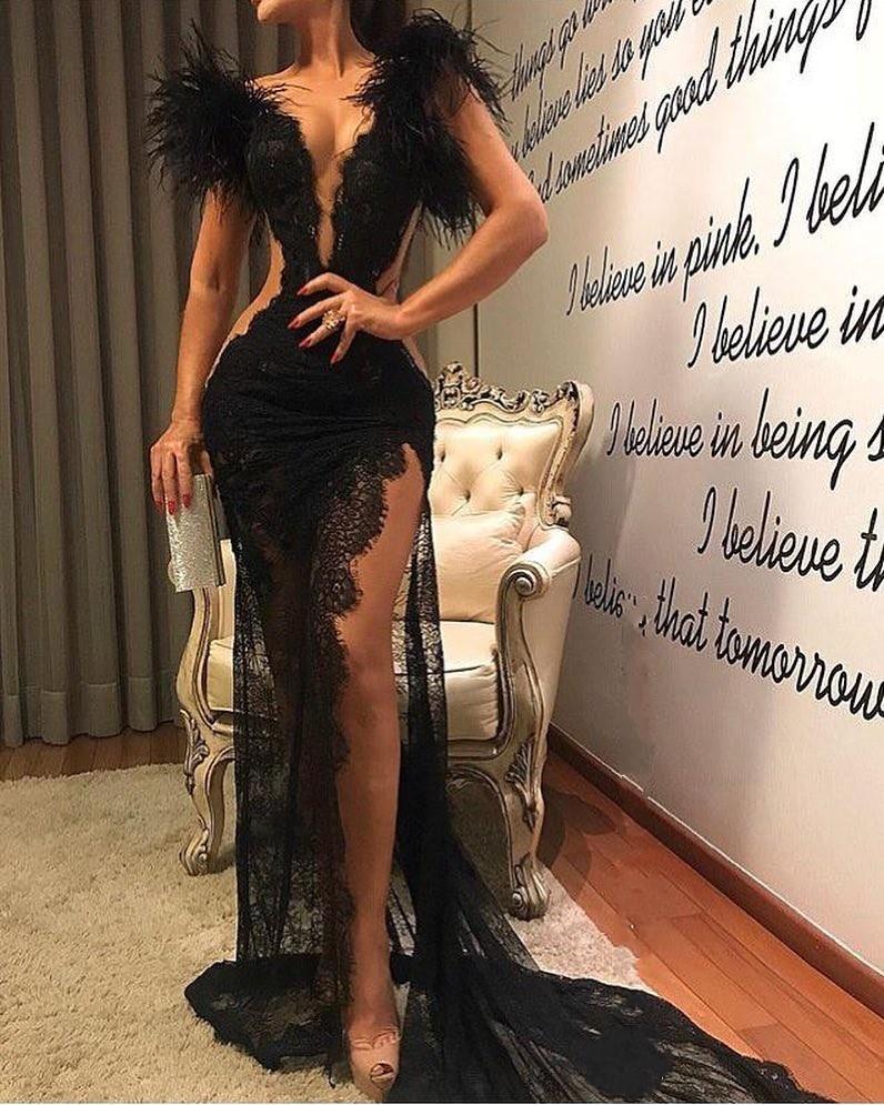 Sexy Abendkleider Lang Schwarz | Spitze Abiballkleider Mit Federn