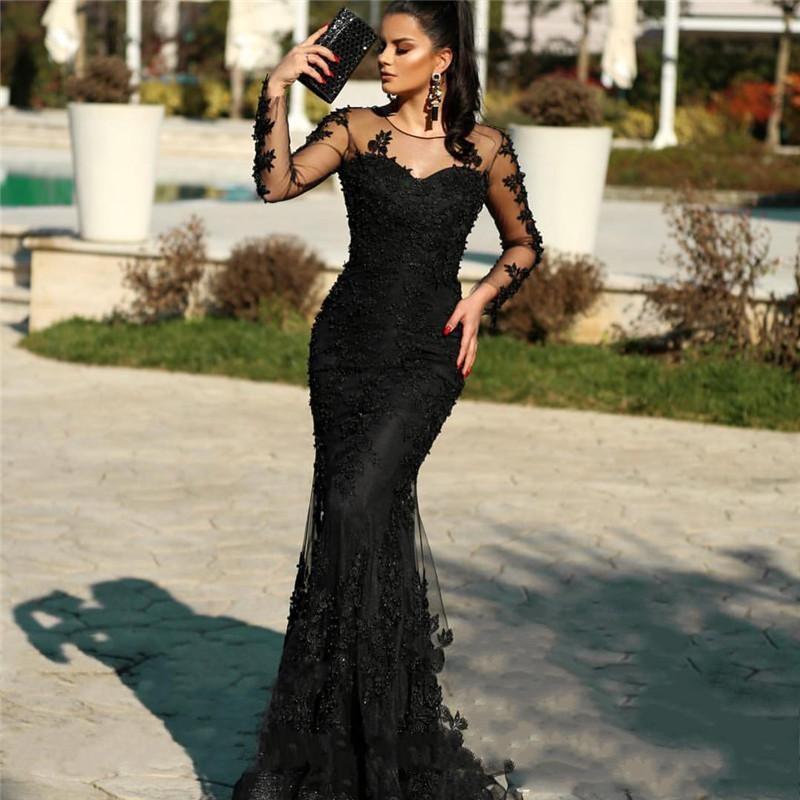 Elegante Abendkleider Lang Schwarz | Spitze Abiballkleider Mit Ärmel