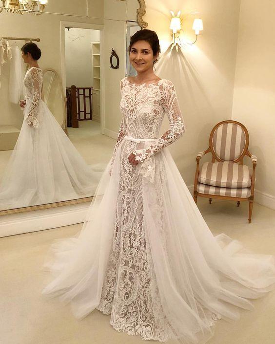 Designer Brautkleider Mit Ärmel | Spitze Hochzeitskleider A Linie Online
