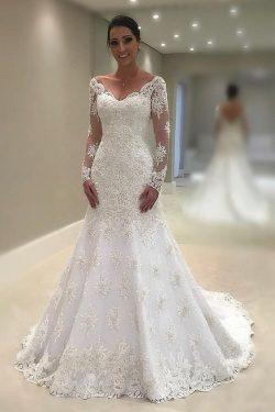 Fashion Brautkleider Mit Spitze A Linie | Hochzeitskleider mit Ärmel