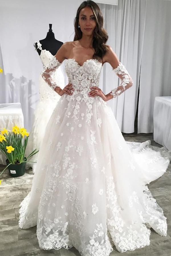 Modern Brautkleid A Linie Mit Spitze | Hochzeitskleider mit Ärmel